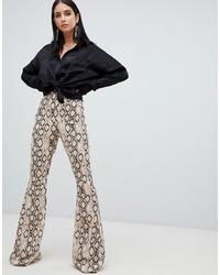 Pantalon flare imprimé beige Missguided