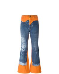 Pantalon flare imprimé bleu Jean Paul Gaultier Vintage