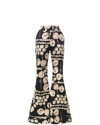Pantalon flare imprimé noir Beaufille