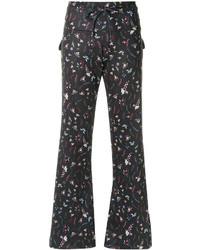 Pantalon flare imprimé noir