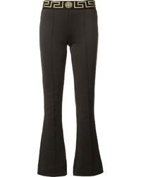 Pantalon flare imprimé noir Versace