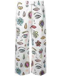 Pantalon imprimé blanc Moschino