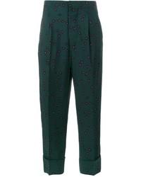 Pantalon imprimé vert foncé Marni