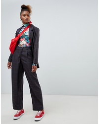 Pantalon large à carreaux bleu marine Monki