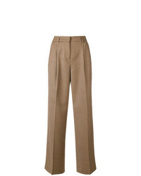 Pantalon large à carreaux marron clair