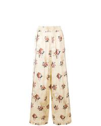 Pantalon large à fleurs beige Golden Goose Deluxe Brand