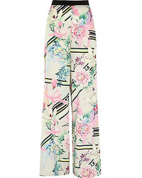 Pantalon large à fleurs blanc