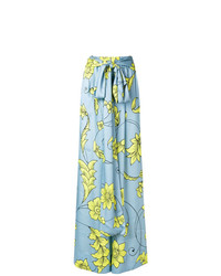 Pantalon large à fleurs bleu clair Miahatami