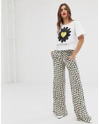 Pantalon large à fleurs noir et blanc Love Moschino