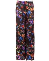 Pantalon large à fleurs noir