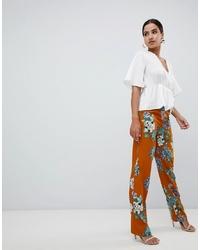 Pantalon large à fleurs orange Missguided