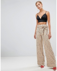 Pantalon large à rayures verticales beige Missguided