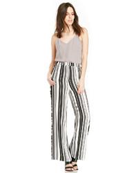 Pantalon large à rayures verticales blanc et noir