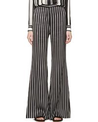 Pantalon large à rayures verticales blanc et noir Balmain