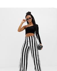 Pantalon large à rayures verticales blanc et noir Collusion