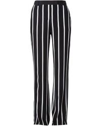 Pantalon large à rayures verticales blanc et noir Emilio Pucci