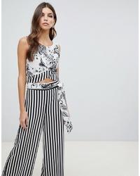 Pantalon large à rayures verticales blanc et noir Forever Unique