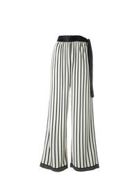 Pantalon large à rayures verticales blanc et noir Jean Paul Gaultier Vintage