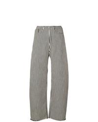 Pantalon large à rayures verticales blanc et noir MARQUES ALMEIDA