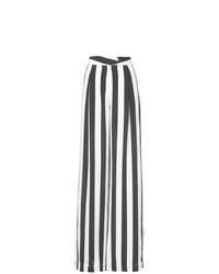 Pantalon large à rayures verticales blanc et noir Michelle Mason