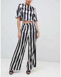 Pantalon large à rayures verticales blanc et noir Missguided