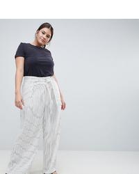 Pantalon large à rayures verticales blanc ASOS WHITE