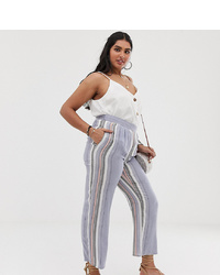 Pantalon large à rayures verticales bleu clair En Crème Plus