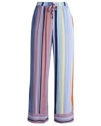 Pantalon large à rayures verticales bleu clair Karen by Simonsen