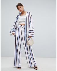 Pantalon large à rayures verticales bleu clair Missguided