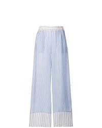 Pantalon large à rayures verticales bleu clair P.A.R.O.S.H.