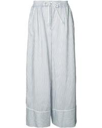 Pantalon large à rayures verticales bleu clair Sacai