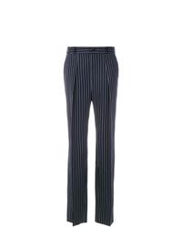 Pantalon large à rayures verticales bleu marine et blanc Lanvin