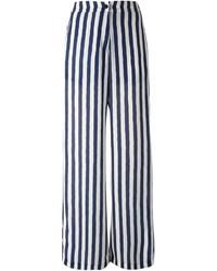 Pantalon large à rayures verticales bleu marine et blanc
