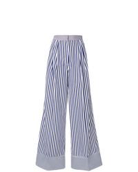 Pantalon large à rayures verticales bleu marine et blanc Rossella Jardini