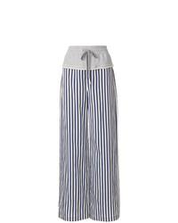 Pantalon large à rayures verticales bleu marine et blanc T by Alexander Wang