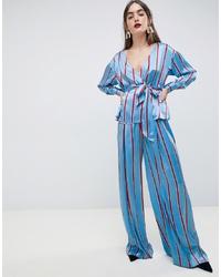 Pantalon large à rayures verticales bleu ASOS DESIGN