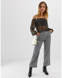 Pantalon large à rayures verticales gris Wednesday's Girl