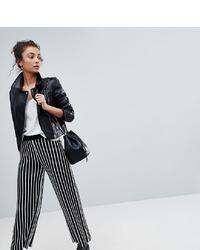 Pantalon large à rayures verticales noir et blanc Asos Tall