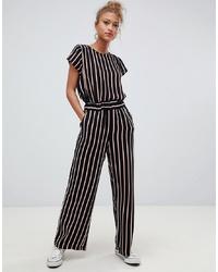 Pantalon large à rayures verticales noir Blend She