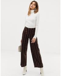 Pantalon large à rayures verticales noir Pieces