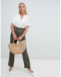 Pantalon large à rayures verticales olive Vila