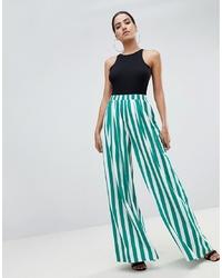 Pantalon large à rayures verticales vert PrettyLittleThing