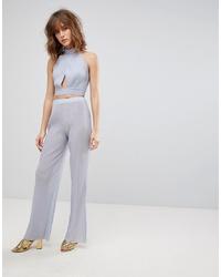 Pantalon large bleu clair Love