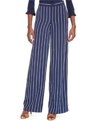 Pantalon large bleu marine et blanc