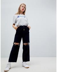Pantalon large bleu marine ASOS DESIGN