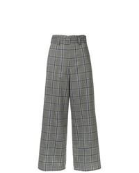 Pantalon large écossais gris
