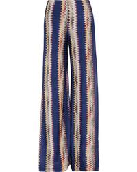 Pantalon large en crochet bleu marine Missoni