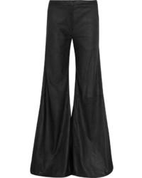 Pantalon large en cuir noir