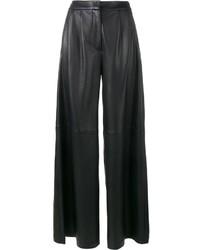 Pantalon large en cuir noir ADAM by Adam Lippes