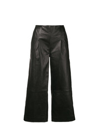 Pantalon large en cuir noir Chalayan